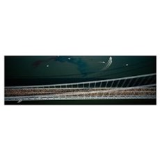 Aerial view of a crowd running on a bridge, New Yo Framed Print