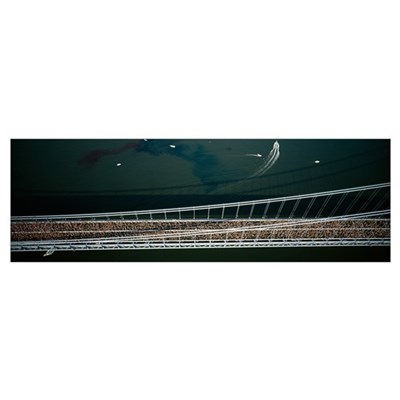 Aerial view of a crowd running on a bridge, New Yo Poster