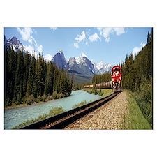 Train on a railroad track, Morants Curve, Banff Na