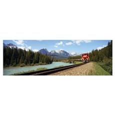 Train on a railroad track, Morants Curve, Banff Na Poster