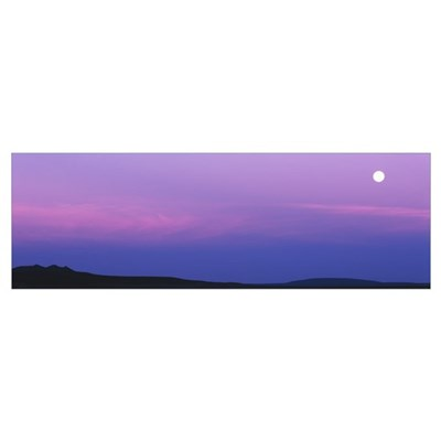 Full moon setting over Tres Orejas, New Mexico Poster
