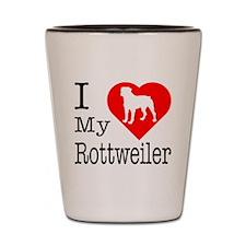 I Love My Rottweiler Shot Glass