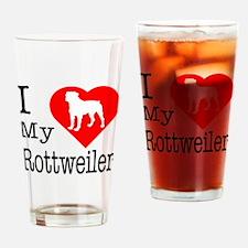 I Love My Rottweiler Drinking Glass