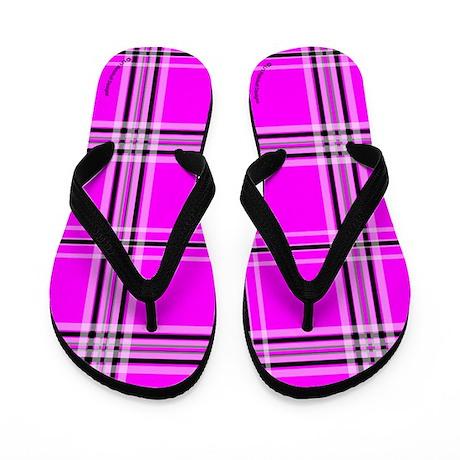 Pink and Black Plaid Flip Flops