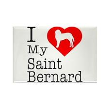 I Love My Saint Bernard Rectangle Magnet