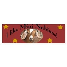 I like Mini Nubians! Red Bumper Sticker w/ Stars