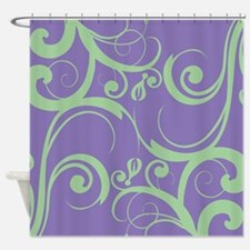 Whimsy Purple Green Shower Curtain