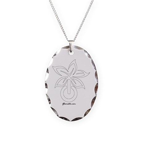 Flower Power Necklace Oval Charm