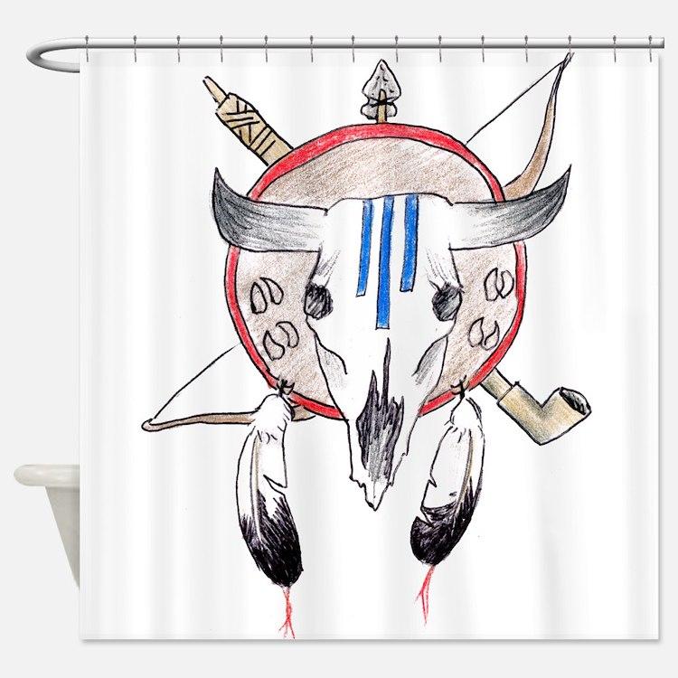 Indian Buffalo Skull Shower Curtain