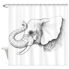 Elephant profile drawing Shower Curtain