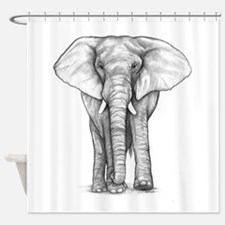 Elephant Drawing Shower Curtain