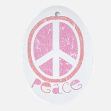 Girly Pink Peace Sign Oval Ornament