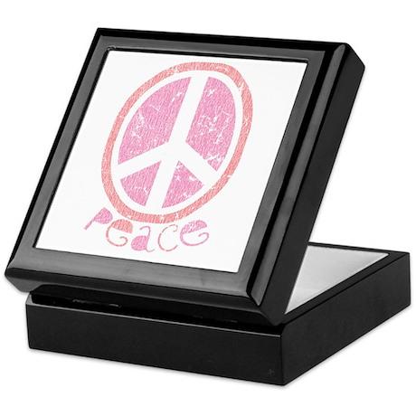 Girly Pink Peace Sign Keepsake Box