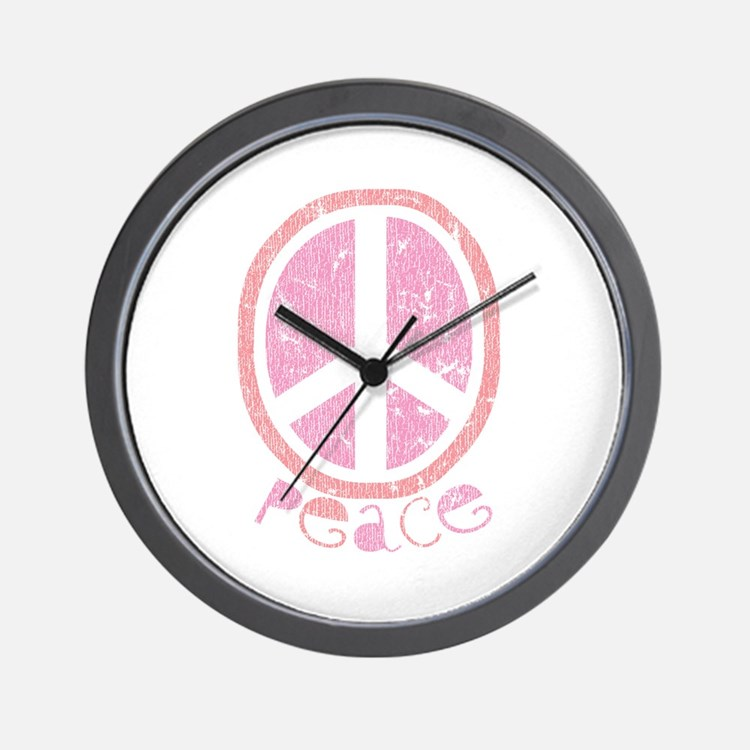 Girly Pink Peace Sign Wall Clock
