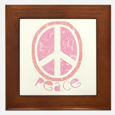 Girly Pink Peace Sign Framed Tile