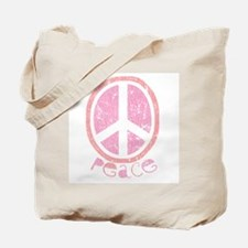 Girly Pink Peace Sign Tote Bag