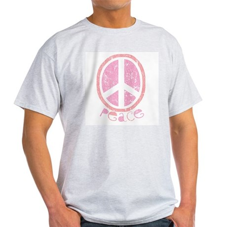Girly Pink Peace Sign Ash Grey T-Shirt