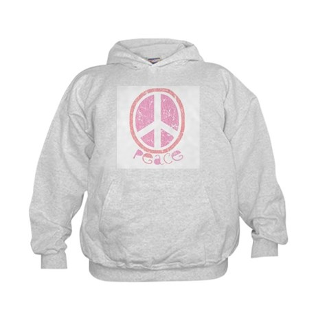 Girly Pink Peace Sign Kids Hoodie