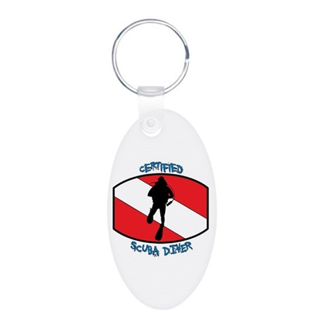 Certified Scuba Diver Aluminum Oval Keychain