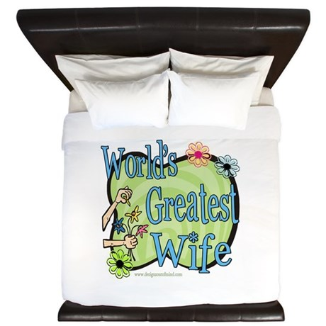 Greatest Wife Floral King Duvet
