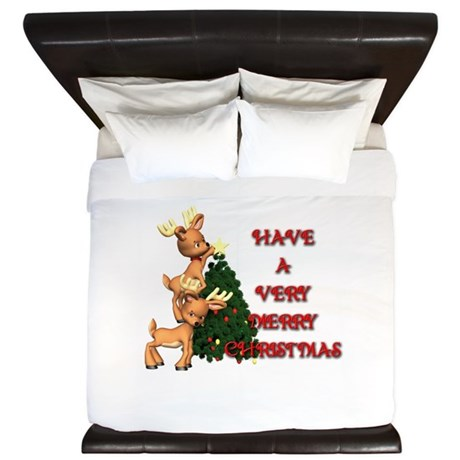Reindeer Christmas King Duvet