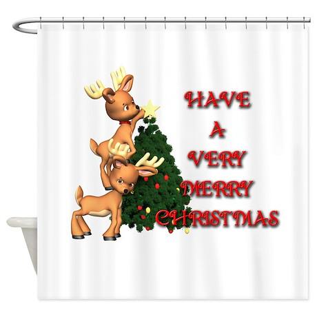 Reindeer Christmas Shower Curtain
