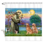 St Francis - Two Goldens Shower Curtain