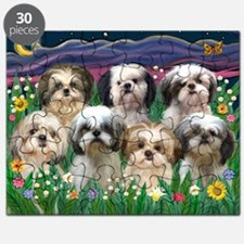 7 Shih Tzus in Moonlight Puzzle