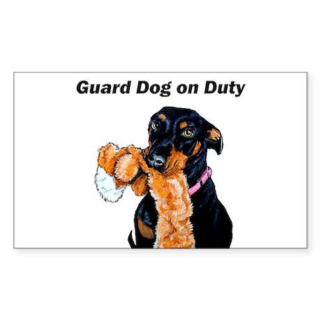 Guard Dog Doberman Sticker (Rectangle)