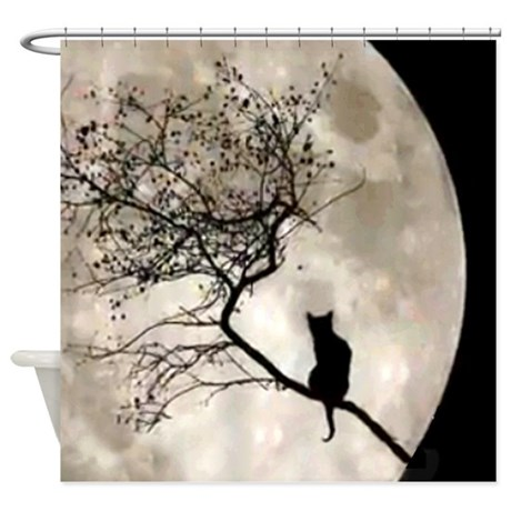 Cat And Moon Shower Curtain