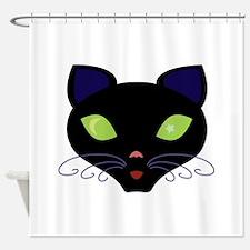 Night Cat Vector Shower Curtain