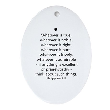 PHILIPPIANS 4:8 Ornament (Oval)