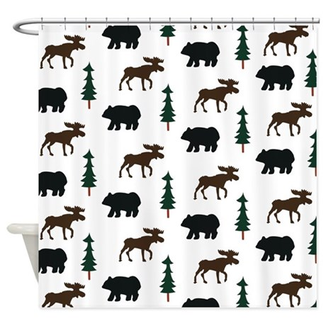 Rustic Bear And Moose Shower Curtain