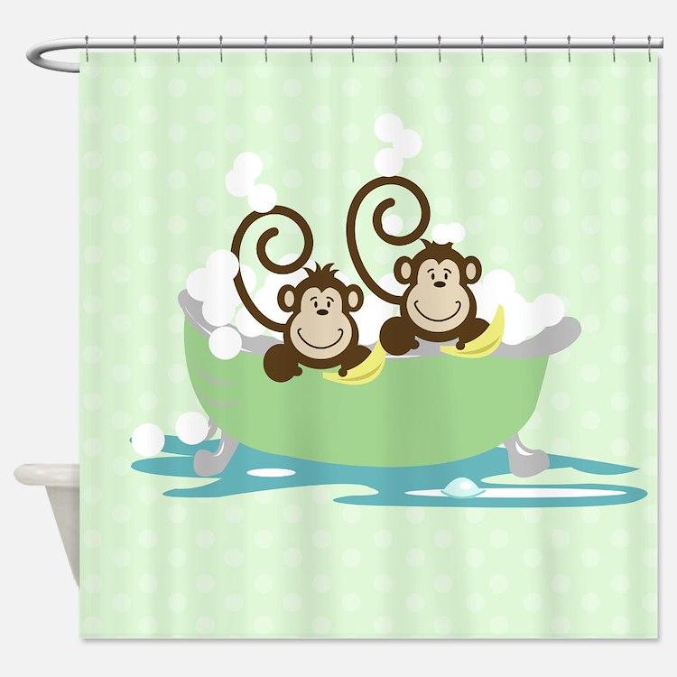 Silly Monkeys in Tub Shower Curtain