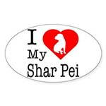 I Love My Shar Pei Sticker (Oval)