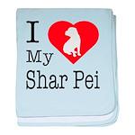 I Love My Shar Pei baby blanket