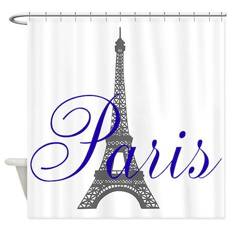Paris Always (blue) Shower Curtain
