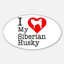 I Love My Siberian Husky Sticker (Oval)