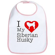 I Love My Siberian Husky Bib