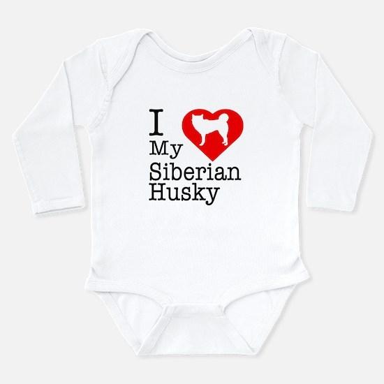 I Love My Siberian Husky Long Sleeve Infant Bodysu