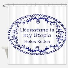Literary Utopia (blue) Shower Curtain