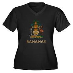 Vintage Bahamas Women's Plus Size V-Neck Dark T-Sh