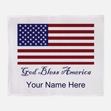 God Bless America Personalize Throw Blanket