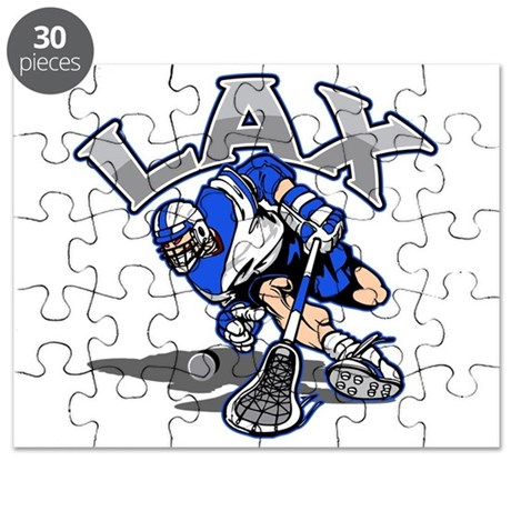 Lacrosse Player In Blue Puzzle