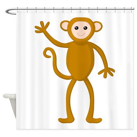 Cute Waving Monkey. Shower Curtain