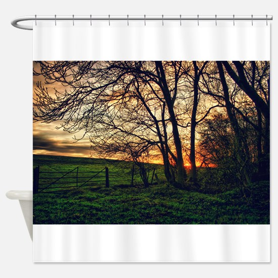 English Countryside Sunset HDR Shower Curtain