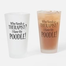 THERAPIST Poodle Drinking Glass