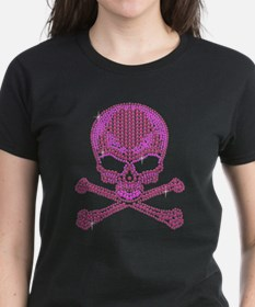 Pink Rhinestone Skull and Crossbones T-Shirt