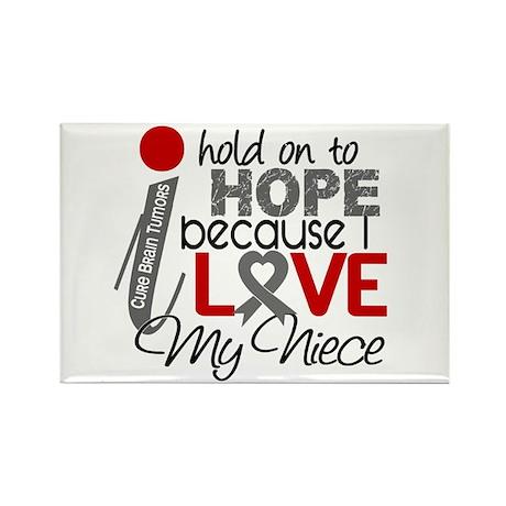 I Hold On To Hope Brain Tumor Rectangle Magnet (10