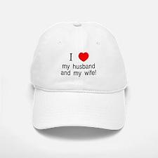 I <3 my husband & my wife Baseball Baseball Cap